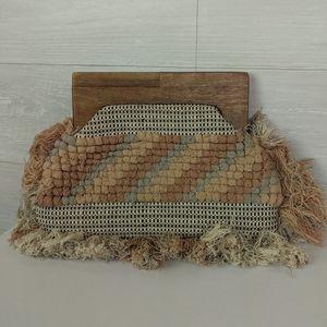 Love Stitch Boho Fringe Wood Clutch Purse